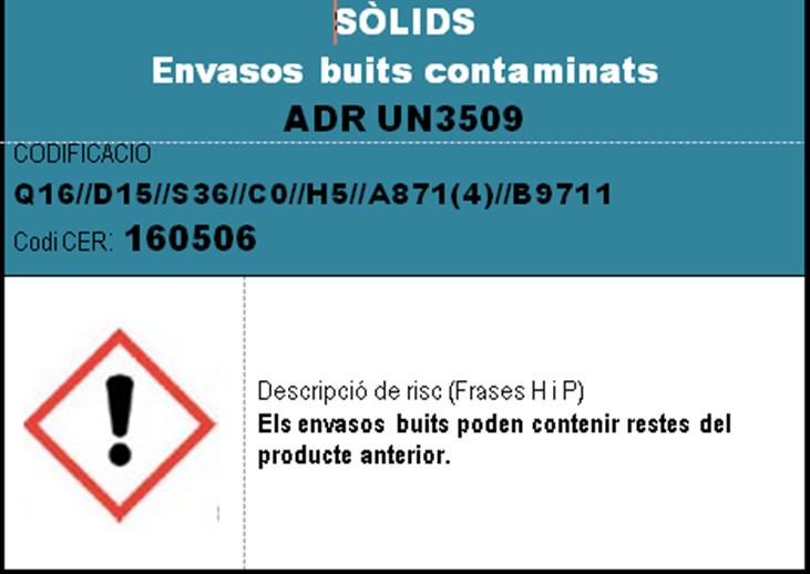 imatge en miniatura de l'etiqueta SOLIDS envasos buits contaminats