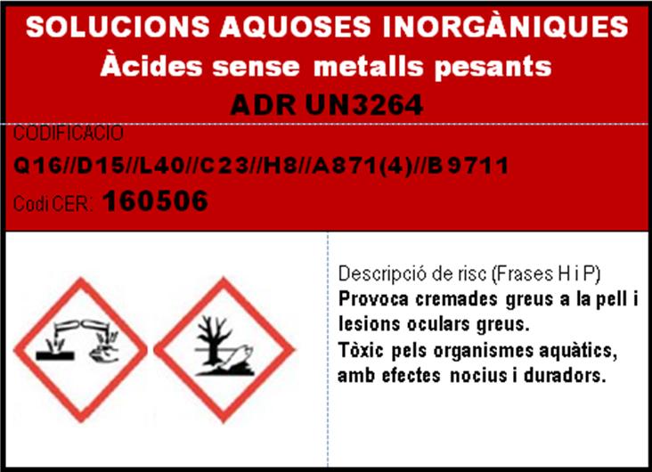 imatge en miniatura de l'etiqueta SOLUCIONS AQUOSES INORGANIQUES acides sense metalls pesants