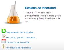En marxa el nou apartat  sobre gestió de residus de laboratori a la UPC